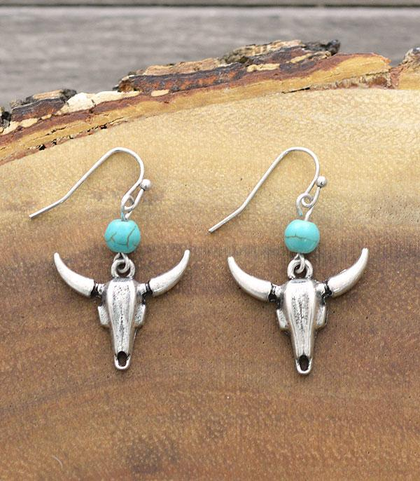 New Arrival :: Wholesale Tipi Turquoise Bull Skull Earrings