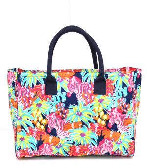 TRAVEL :: Shopping Totes :: Flower Zebra Shopping Tote