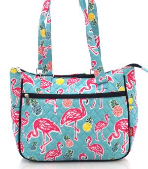 TRAVEL :: Shopping Totes :: Flamingo Print Quilted Bag