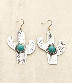 <font color=Turquoise>TURQUOISE JEWELRY</font> :: Cactus Turquoise Metal Earrings