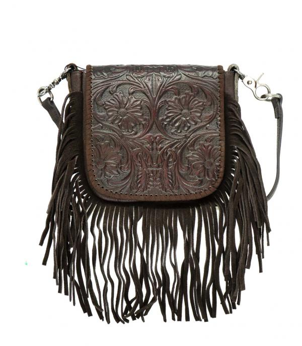 New Arrival :: Montana West Leather Tooled Crossbody