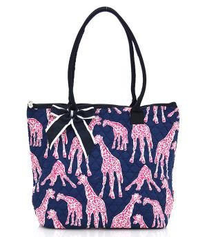 TRAVEL :: Shopping Totes :: Giraffe Print Quilted Tote