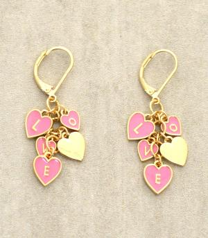 <font color=red>VALENTINE'S</font> :: &quot;Love&quot; Heart Earrings