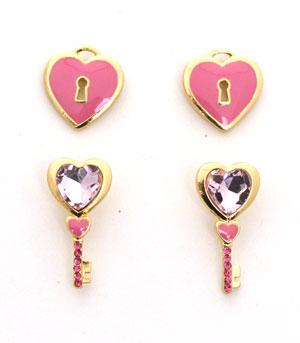 <font color=red>VALENTINE'S</font> :: Heart Lock and Key Earrings