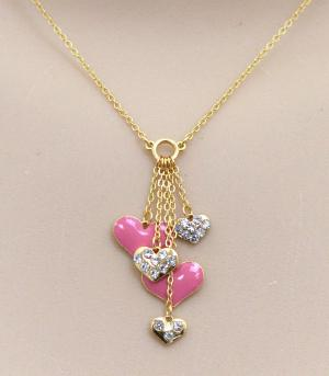 <font color=red>VALENTINE'S</font> :: Heart Charms Necklace
