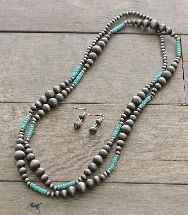New Arrival :: Navajo Bead Turquoise Accent Necklace Set