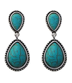 New Arrival :: Turquoise Stone Drop Earrings