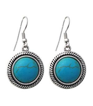 <font color=Turquoise>TURQUOISE JEWELRY</font> :: Turquoise Stone Dangle Earrings