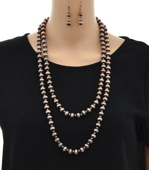 New Arrival :: Wholesale Navajo Bead Layered Necklace Set