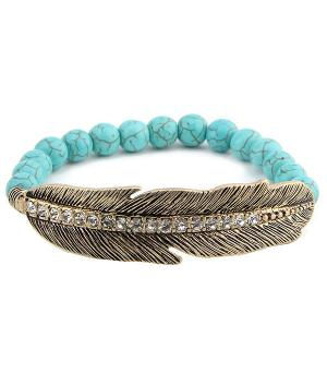 <font color=Turquoise>TURQUOISE JEWELRY</font> :: Feather Semi Precious Stone Bracelet