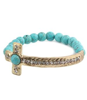 <font color=Turquoise>TURQUOISE JEWELRY</font> :: Cross Semi Precious Stone Bracelet