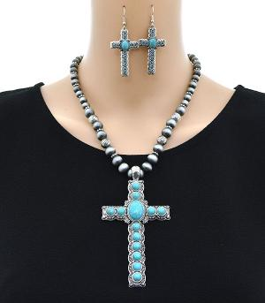 <font color=Turquoise>TURQUOISE JEWELRY</font> :: Navajo Bead Cross Necklace Set