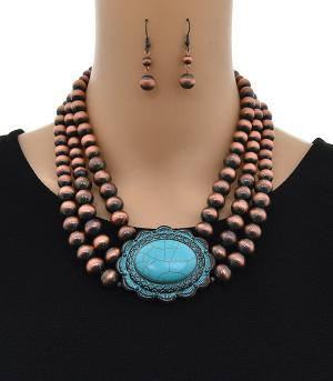 <font color=Turquoise>TURQUOISE JEWELRY</font> :: Layered Navajo Bead Concho Necklace Set