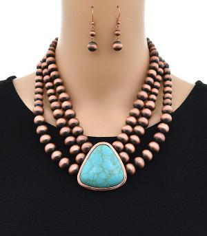 <font color=Turquoise>TURQUOISE JEWELRY</font> :: Trendy Layered Navajo Bead Necklace Set