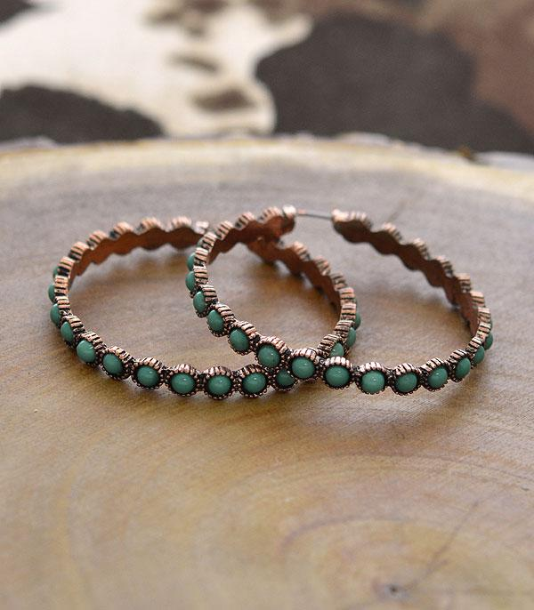 New Arrival :: Navajo Turquoise Hoop Earrings