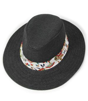 HATS/ HAIR ACC :: FEDORA | FLOPPY :: Tropical Print Band Panama Hat