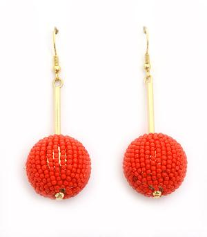 <font color=red>VALENTINE'S</font> :: Seed Beaded Ball Drop Earrings