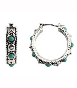 <font color=Turquoise>TURQUOISE JEWELRY</font> :: Navajo Turquoise Bead Hoop Earrings