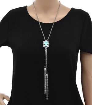 <font color=Turquoise>TURQUOISE JEWELRY</font> :: Cross Concho Necklace Set