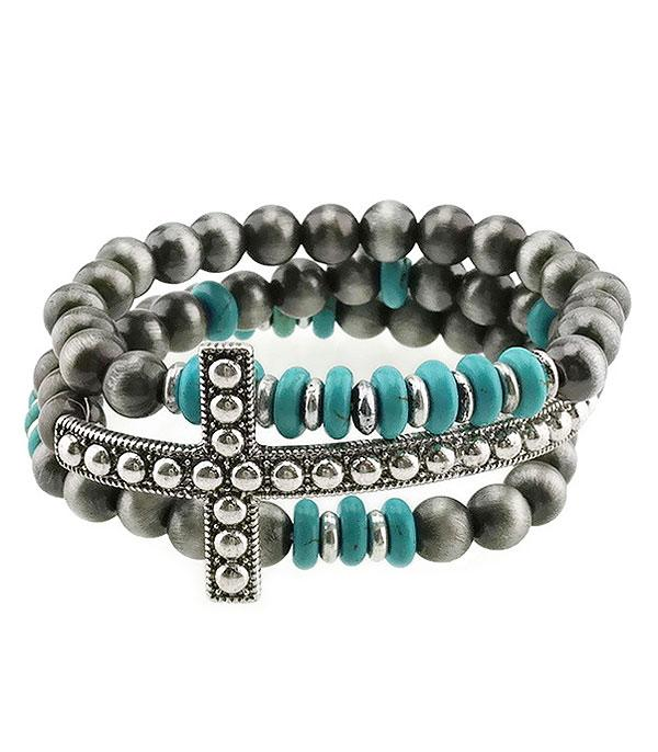 <font color=Turquoise>TURQUOISE JEWELRY</font> :: Navajo Bead Cross Layering Bracelets