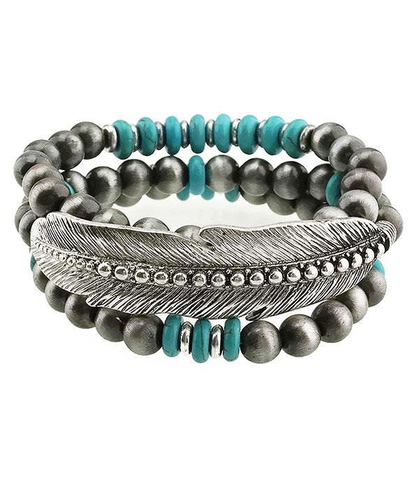 <font color=Turquoise>TURQUOISE JEWELRY</font> :: Navajo Bead Feather Layering Bracelet