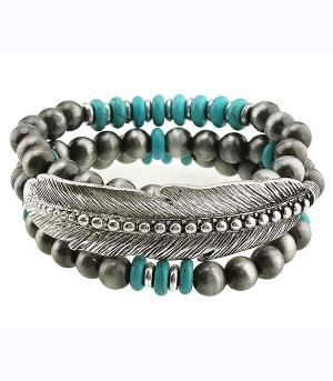 New Arrival :: Navajo Bead Feather Layering Bracelet
