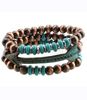 <font color=Turquoise>TURQUOISE JEWELRY</font> :: Navajo Bead Arrow Layering Bracelet