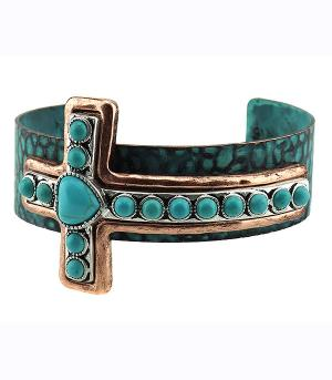 <font color=Turquoise>TURQUOISE JEWELRY</font> :: Cross Cuff Bracelet