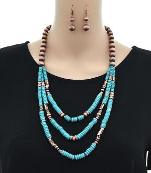 <font color=Turquoise>TURQUOISE JEWELRY</font> :: Turquoise Accent Navajo Bead Necklace Set