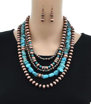 <font color=Turquoise>TURQUOISE JEWELRY</font> :: Turquoise Stone & Navajo Bead Necklace Set