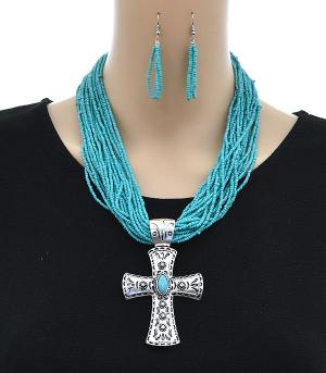 New Arrival :: Beaded Cross Necklace Set
