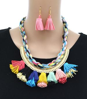 New Arrival :: Colorful Tassel Semi Collar Necklace Set