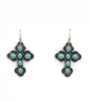 <font color=Turquoise>TURQUOISE JEWELRY</font> :: Turquoise Cross Earrings