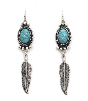 New Arrival :: Turquoise Feather Earrings