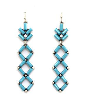 <font color=Turquoise>TURQUOISE JEWELRY</font> :: Aztec Pattern Turquoise Earrings