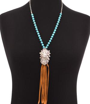 <font color=Turquoise>TURQUOISE JEWELRY</font> :: Indian Chief Head Necklace