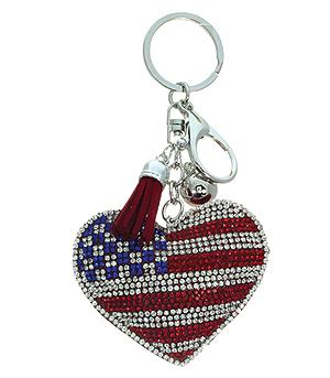 <font color=Red>RED,WHITE, AND BLUE</font> :: American Flag Heart Keychain