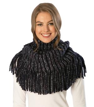 SCARVES / PONCHO :: INFINITY :: Knit Fringe Infinity Scarf