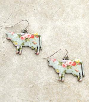 New Arrival :: Floral Cow Earrings