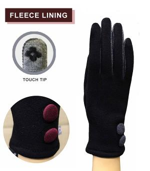 GLOVES/ARM WARMERS :: Colored Button Accent Gloves
