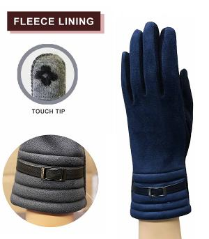 GLOVES/ARM WARMERS :: Faux Suede Buckle Accent Gloves