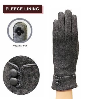 GLOVES/ARM WARMERS :: Button Cuff Accent Gloves
