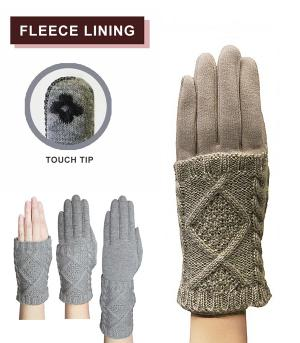 GLOVES/ARM WARMERS :: Cable Knit Layer Gloves