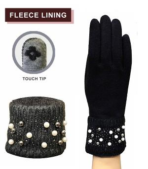GLOVES/ARM WARMERS :: Pearls & Studs Accent Gloves