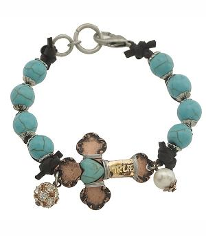 New Arrival :: Cross Antiqued Turquoise Bracelet