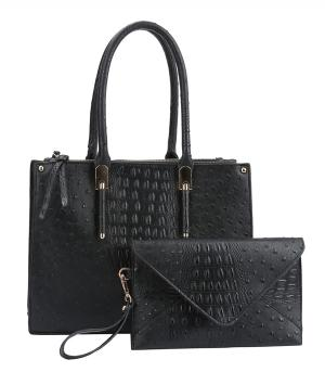 New Arrival :: Faux Ostrich 2 in 1 Classic Tote