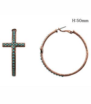 <font color=Turquoise>TURQUOISE JEWELRY</font> :: Cross Hoop Earrings