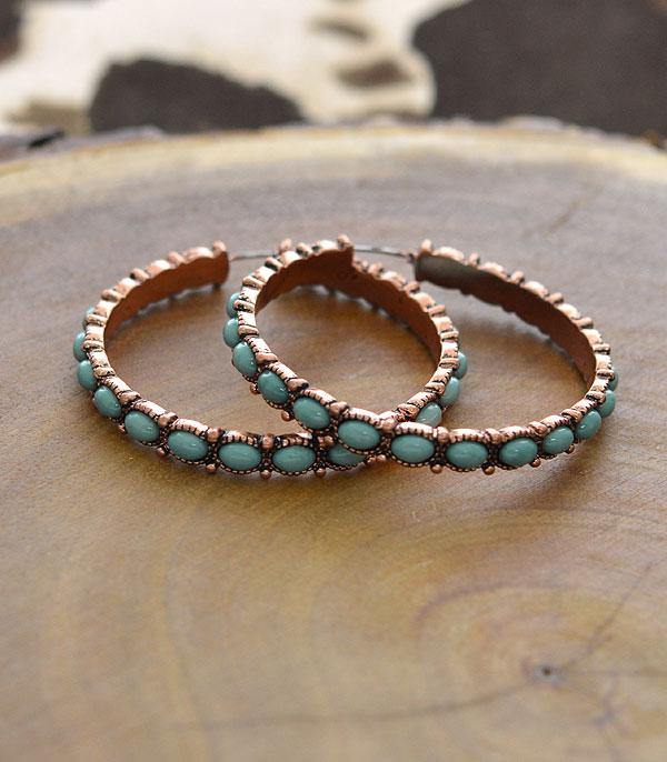 New Arrival :: Navajo Turquoise Bead Hoop Earrings