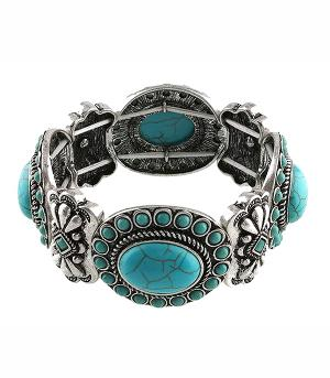 <font color=Turquoise>TURQUOISE JEWELRY</font> :: Turquoise Accent Concho Bracelet