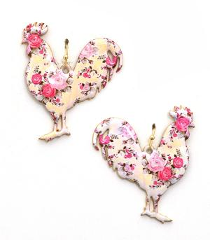 New Arrival :: Floral Print Rooster Earrings